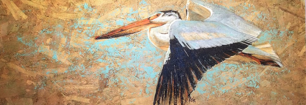 Pelican  Acrylic and gold paint on OSB 16x48