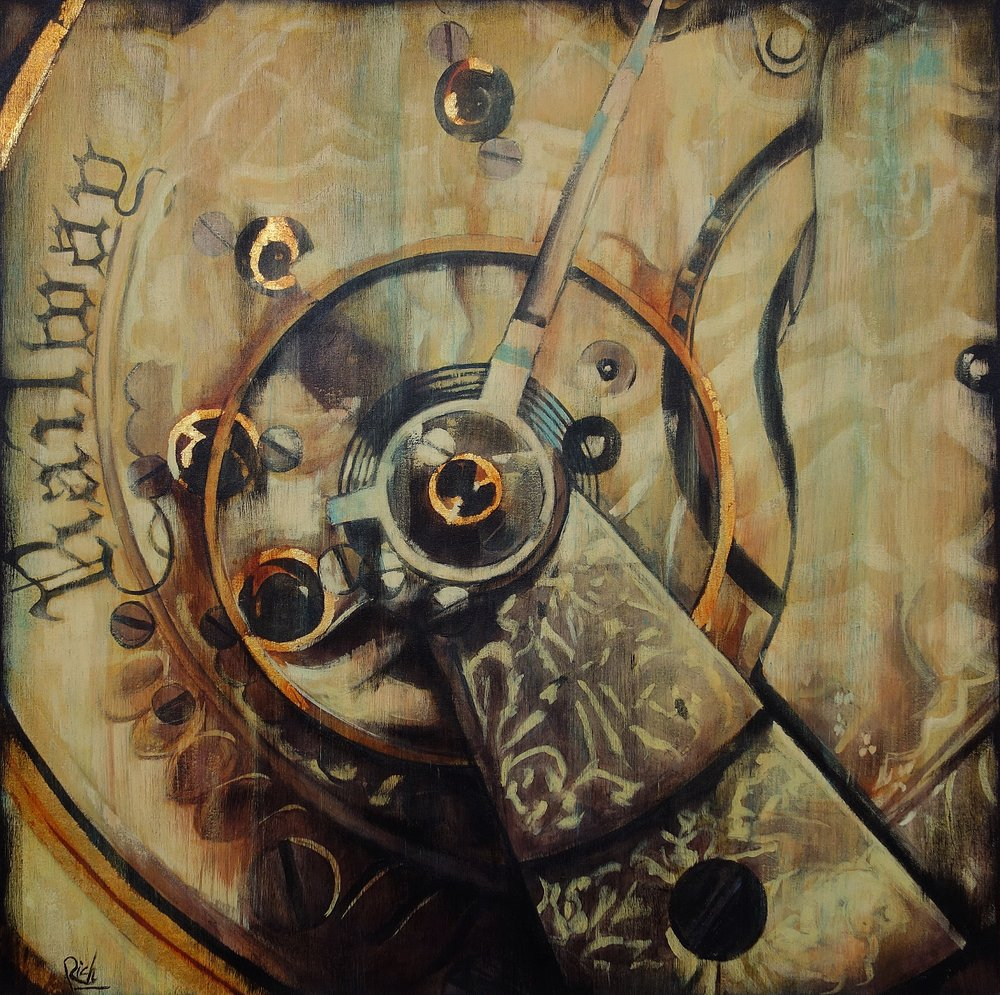 Railman watch rear view  Acrylic and gold leaf on canvas 36x36