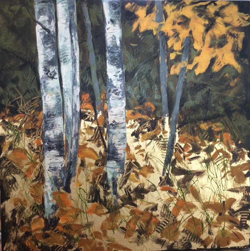 Last Leaves  Acrylic on canvas 36x36
