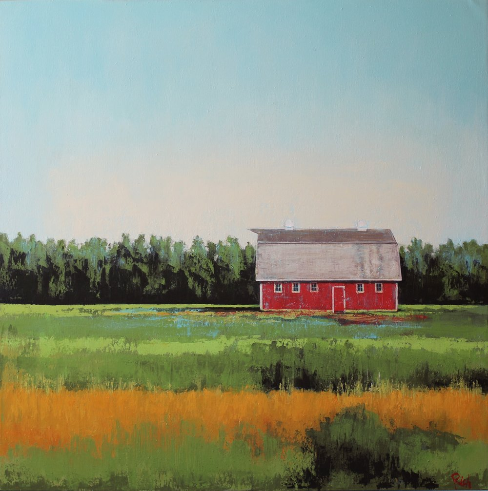 Red Barn  Acrylic on canvas 48x48