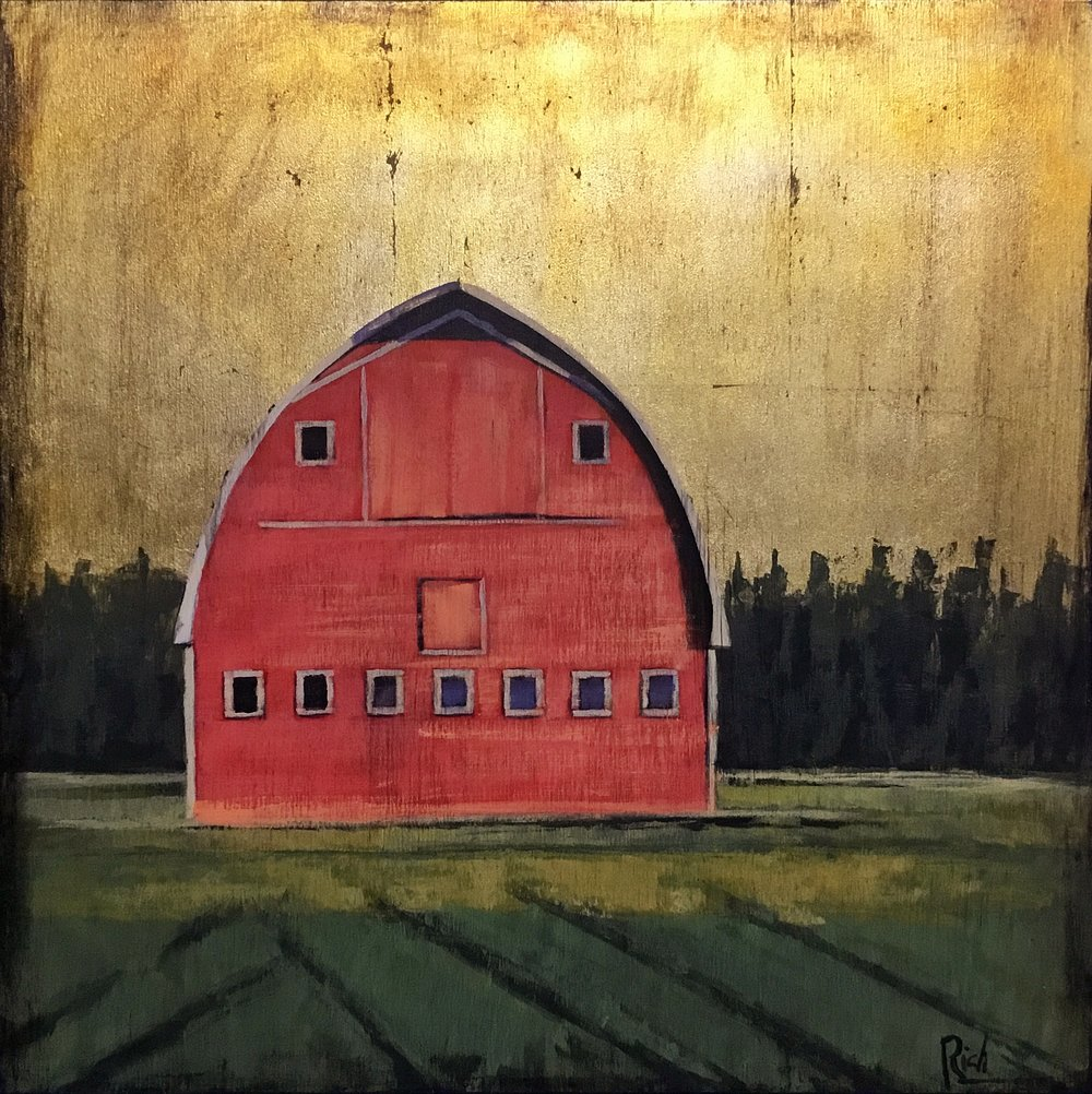 Red Barn on Board  Acrylic on board 15x15