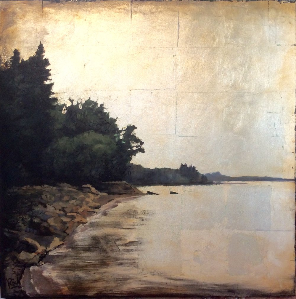 Rocky Shoreline  Acrylic and gold leaf on canvas 36x36
