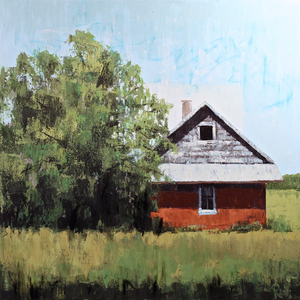Red Prairie House  Acrylic on canvas 30x30