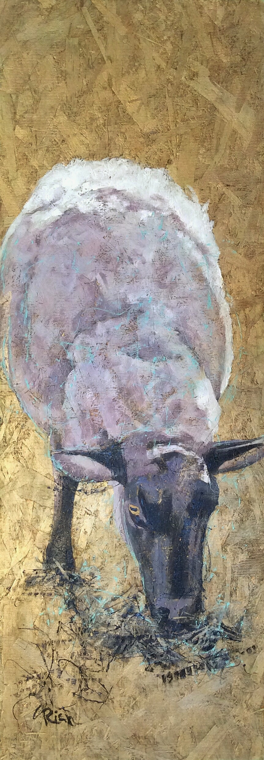 Grazing  Acrylic and gold paint on board (osb). 16x48