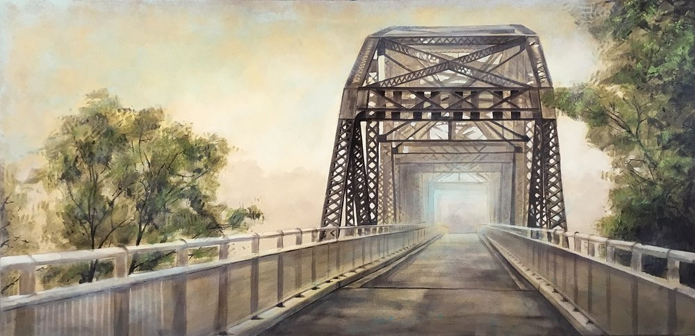 Elm Park bridge    Acrylic on canvas   36x18