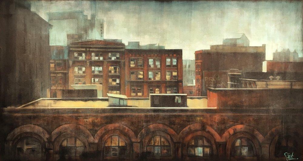 Hot Tin  Acrylic on canvas 63x34