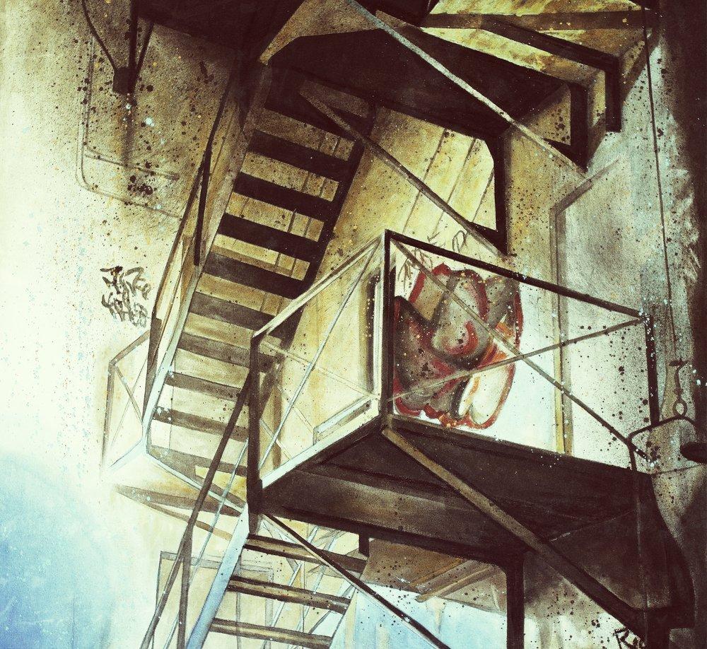 Fire escape graffiti  Acrylic on canvas 48x48