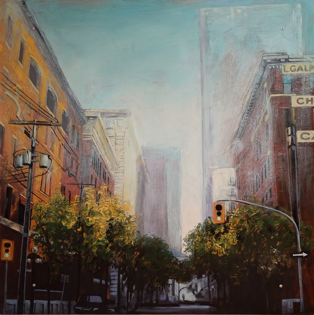 Sunwashed street    Acrylic on plexiglass   48x48