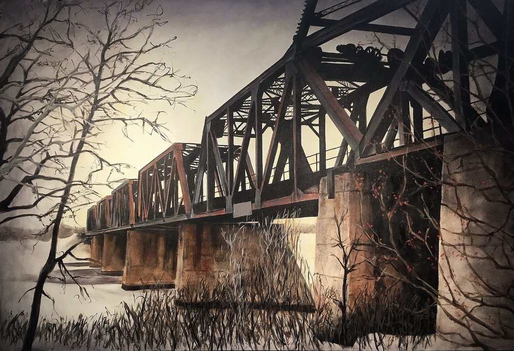 Train bridge over the Red    Acrylic on canvas   96x60