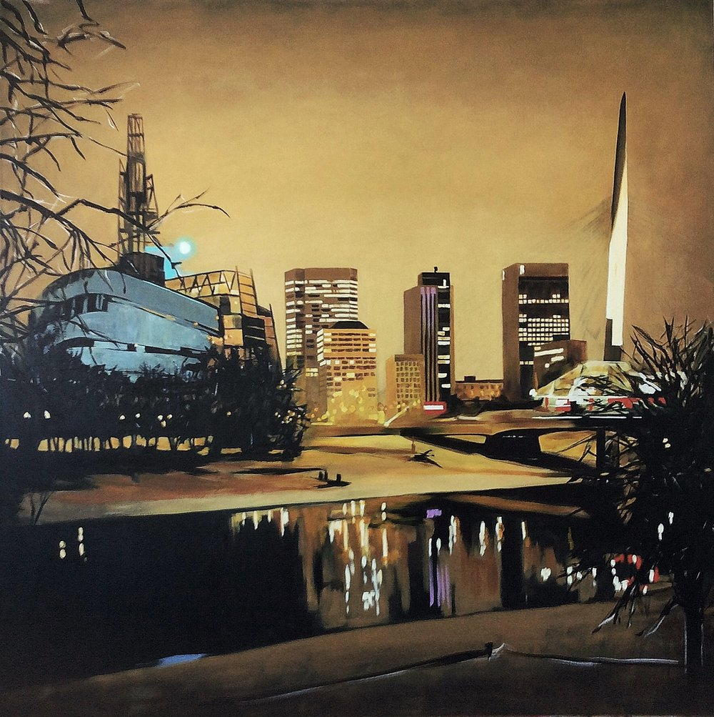 Winnipeg through the forks    Acrylic on canvas   36x36