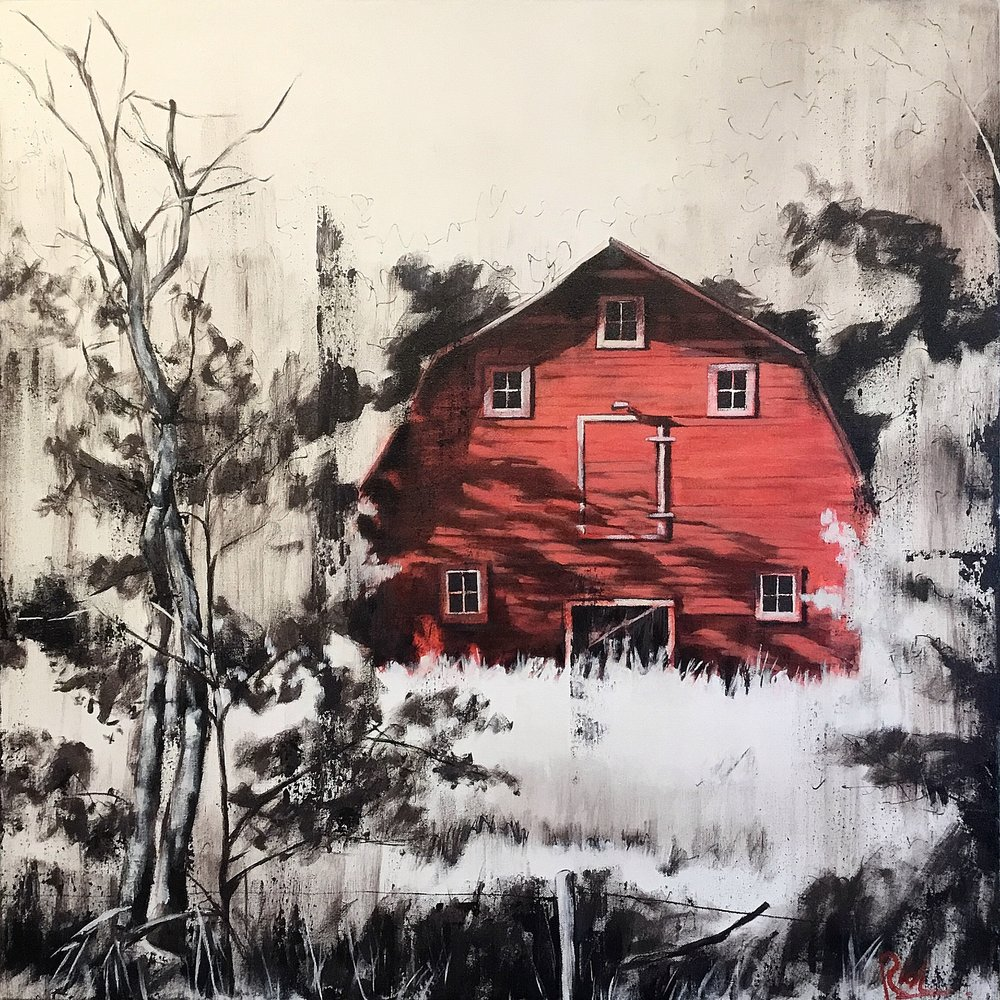 Red barn, minimal  Acrylic on canvas 30x30