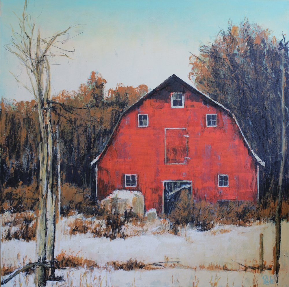 Red barn, small  Acrylic on canvas 30x30