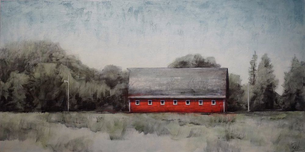 Red barn, long  Acrylic on canvas 60x30