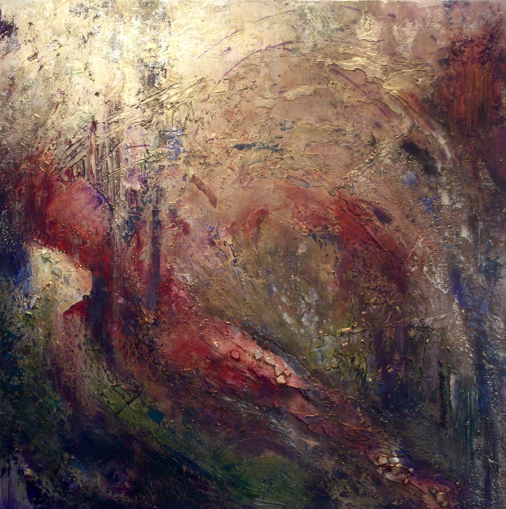 mystique III  48 x 48 x 1.5 inches  mixed media, gold dust on canvas  SOLD