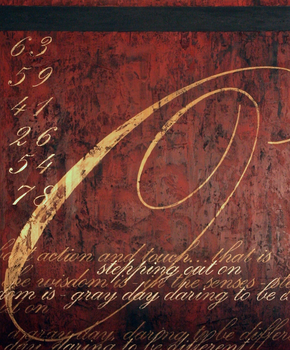 daring to be...  72 x 60 x 1.5 inches  mixed media & gold dust on canvas  $6,800 - SOLD