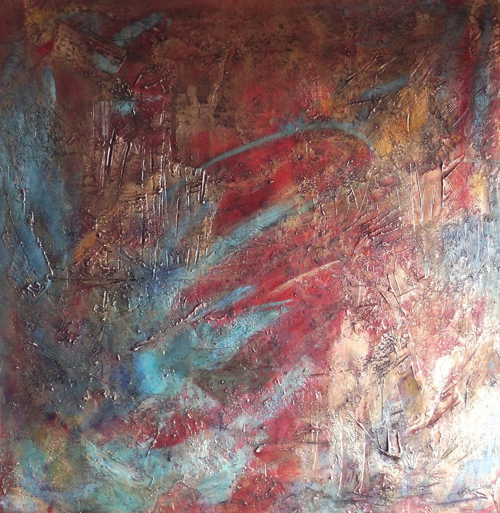 room to dance  48 x 48 x 1.5 inches  mixed media + gold dust on canvas  $4,280