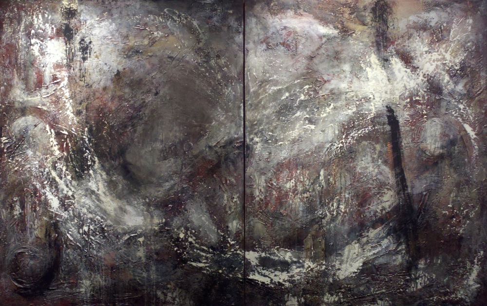 aqua vitae  60 x 96 inches | 2 panels 60 x 48 x 1.5 inches  mixed media, gesso, ink, gold on canvas  $12,480