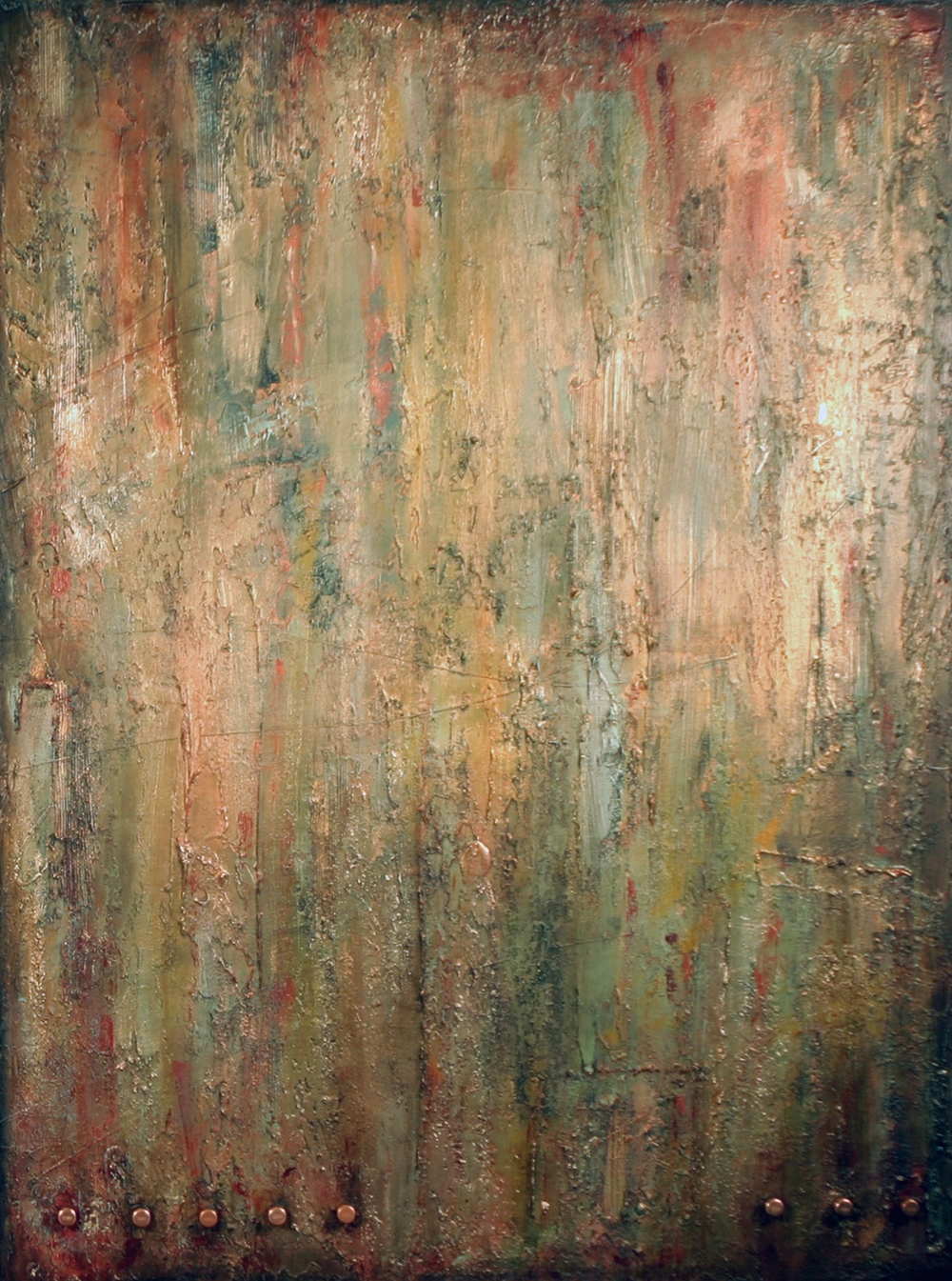 liberated spirits  48 x 36 x 1.5 inches  mixed media + copper on canvas  $4200 USD