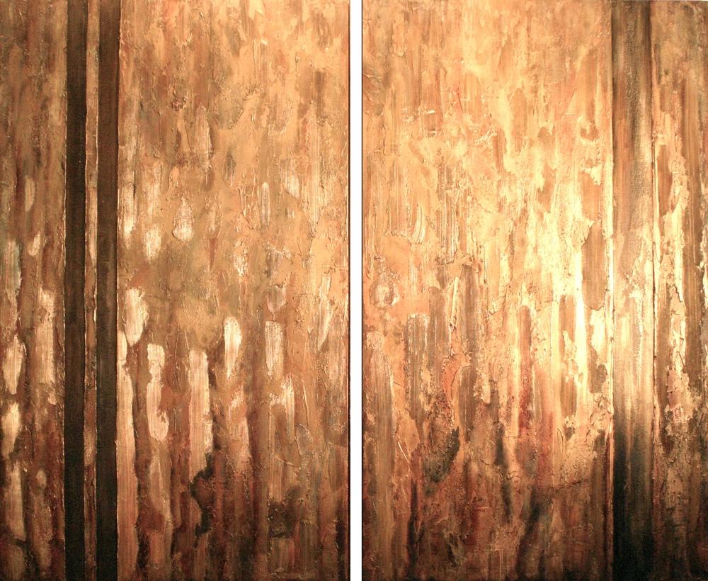 puerta del sol  60 x 36 | 60 x 36  mixed media + gold dust on canvas  $5,420