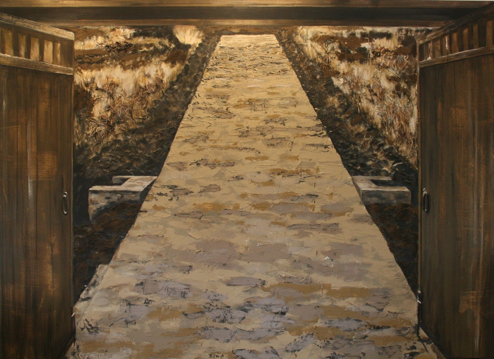 the road  8 x 12 feet  mixed media, grasses, earth on canvas  SOLD