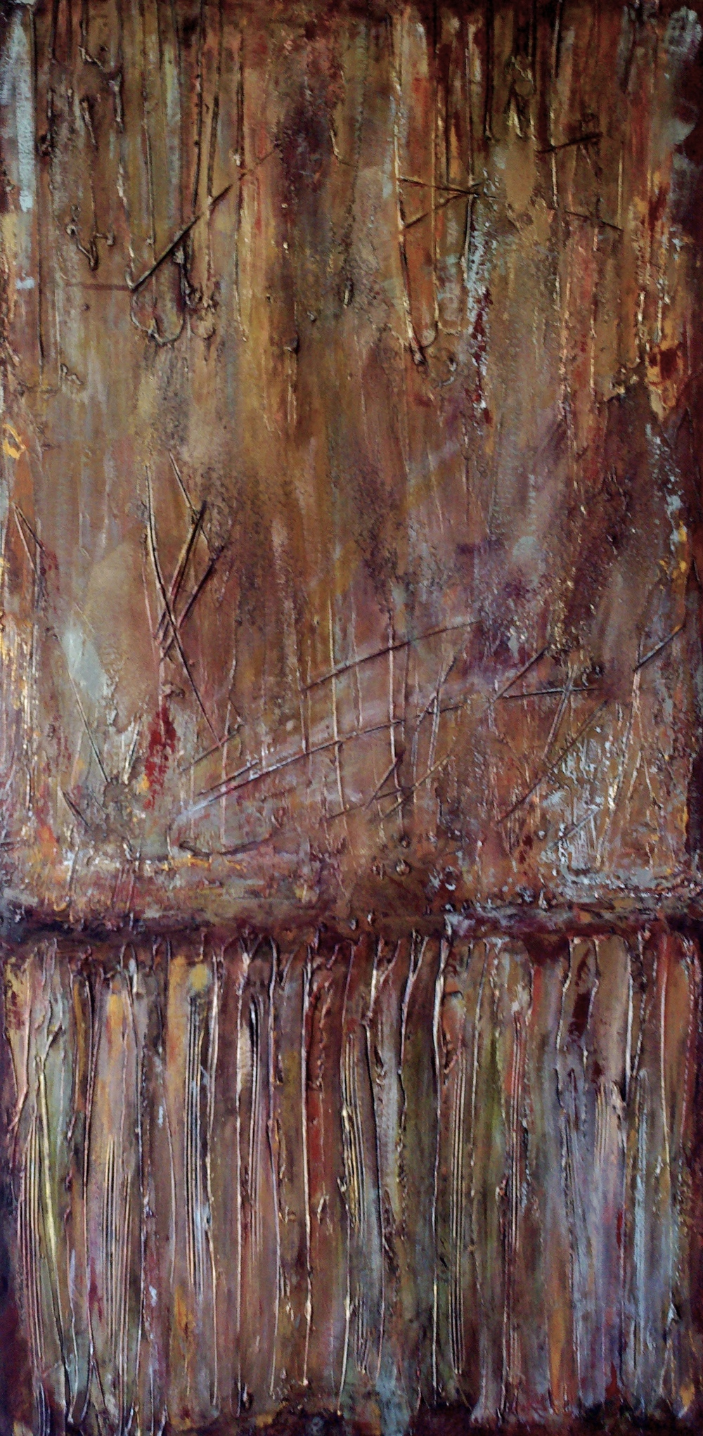 The Greeting  48 x 24 x 1.5 inches  mixed media on canvas  $2400