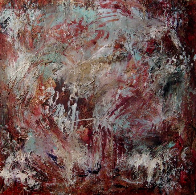the beginning  48 x 48 x 1.5 inches  mixed media on canvas  SOLD