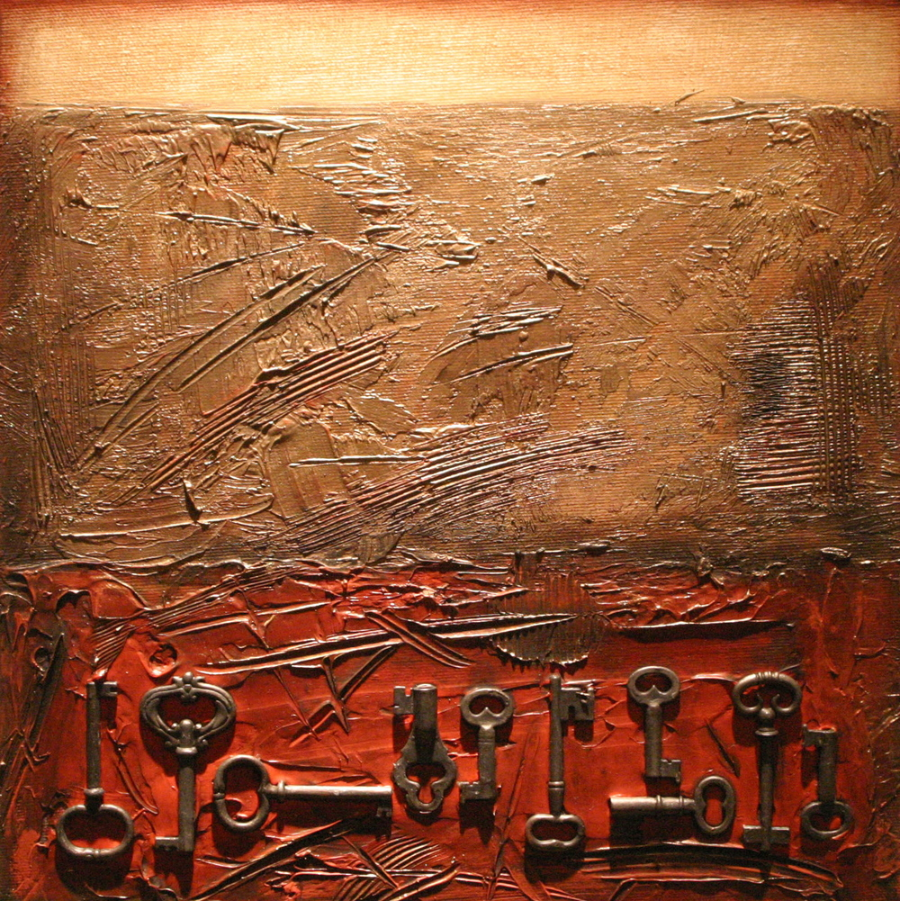 study for archeology I  12 x 12 inches  mixed media assemblage on canvas  SOLD