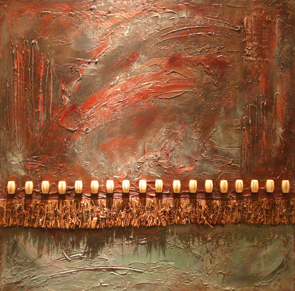 kallista  20 x 20 inches  mixed media, twigs & bone on canvas  SOLD