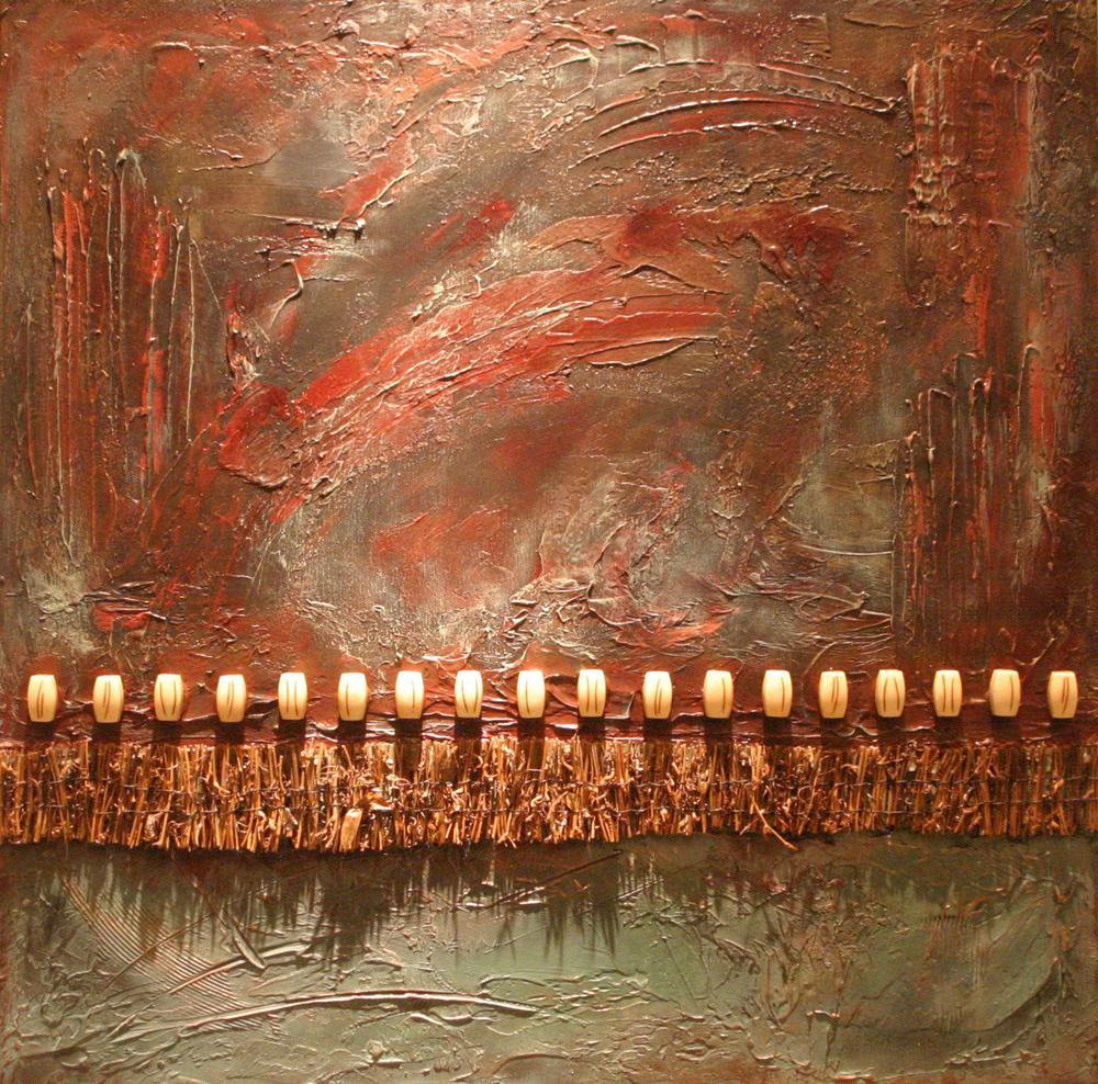 kallista  20 x 20 x 1.5 inches  mixed media, twigs &bone on canvas  SOLD