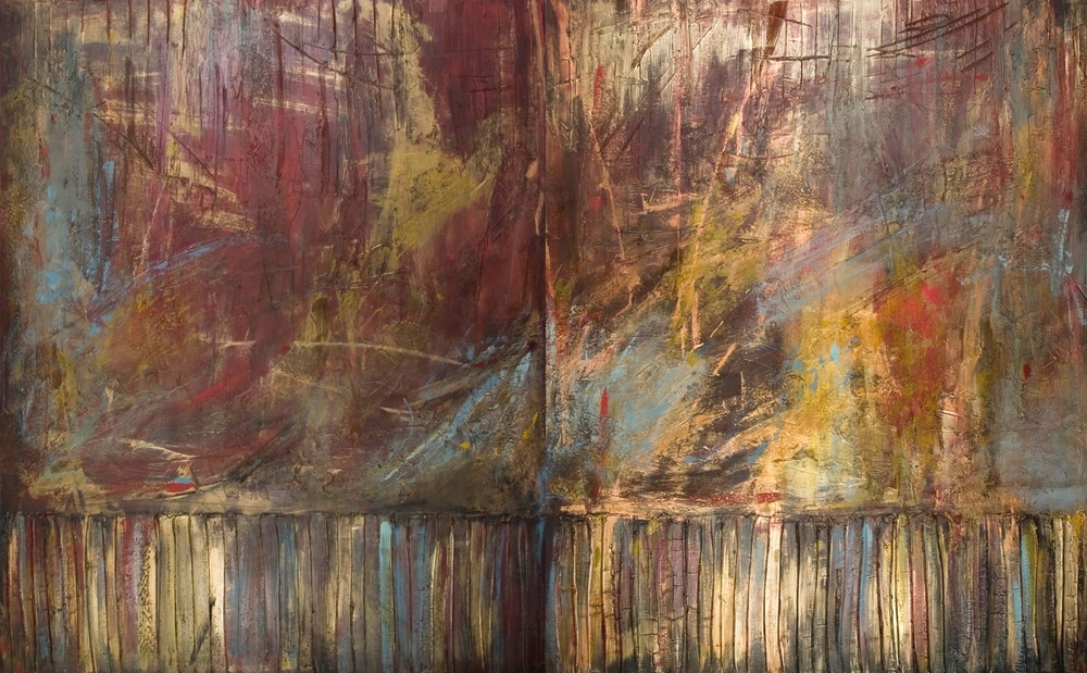 start with a spark  60 x 96 inches | 2 panels 60 x 48 inches  mixed media & gold dust on canvas  $12,245 USD