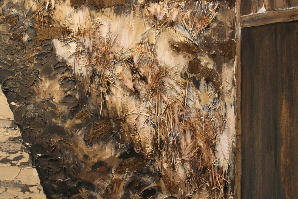 the road  detail  mixed media assemblage on canvas  SOLD