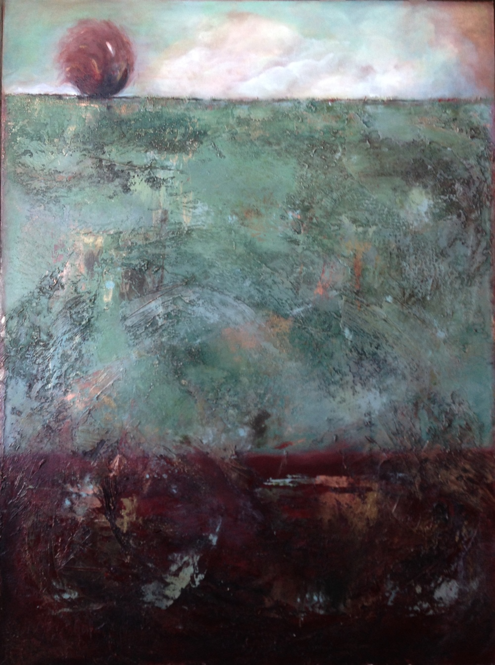The Hill  48 x 36 x 1.5 inches  mixed media & gold dust on canvas  $2,700