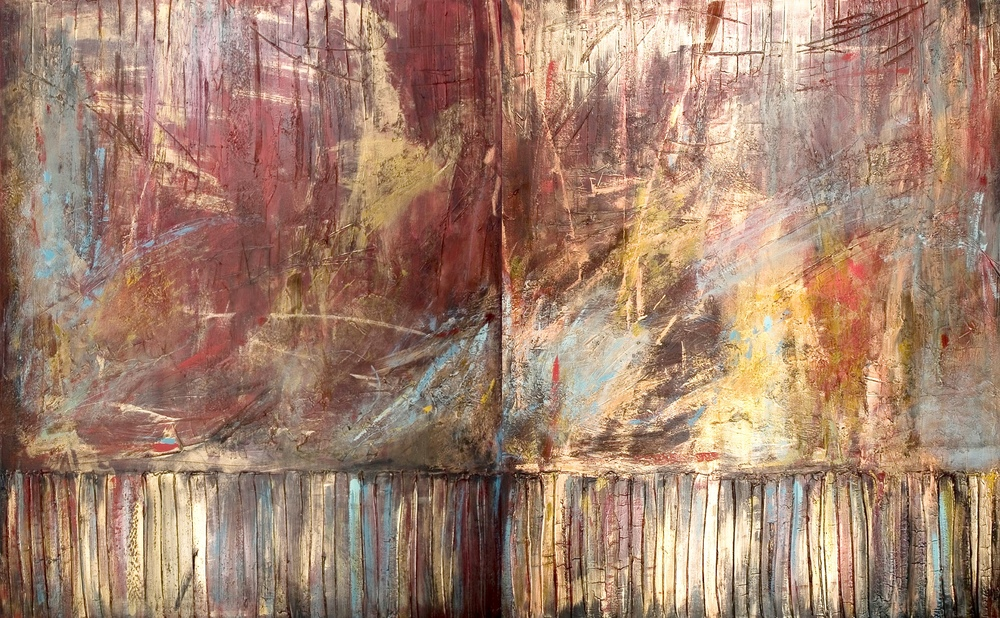 8 + 9. Start with a spark_2 panels_each 60x36_total60x96_mixed media on canvas_Leslie_Lemberg.jpg