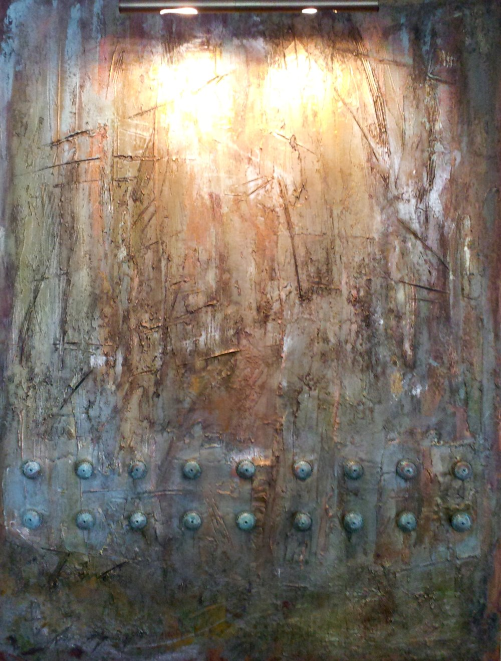 The Effects of Light  Mixed media and oxidized copper on canvas  48 x 36 x 1.5 inches  $4200 USD