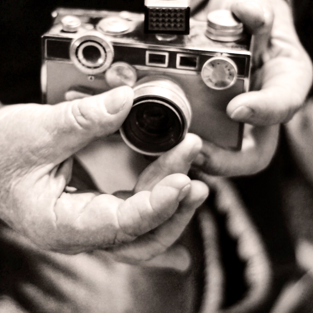 """My daddy teaching me how to use his U of I college day's camera; an Argus C3 (further known as the """"Harry Potter Camera"""" 