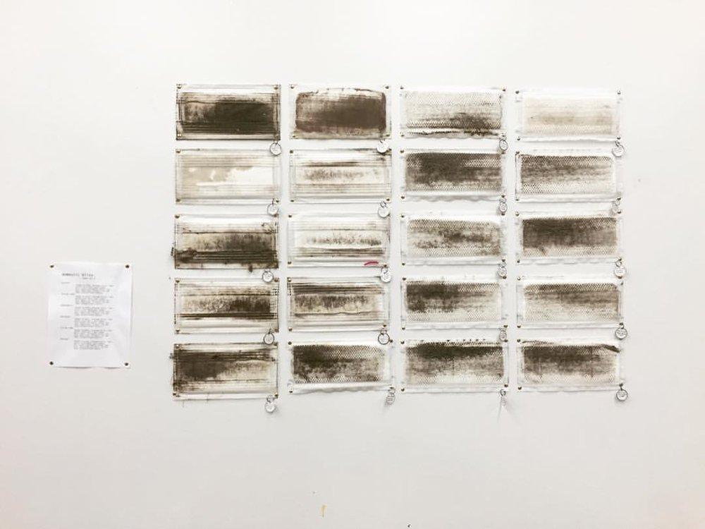 20 days of failure - 2015 | swiffer pads, id tags, dirt