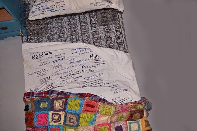 the bed you've made - 2015 | matris, sheet set, thread, cinder blocks, recording sound element, ready mades