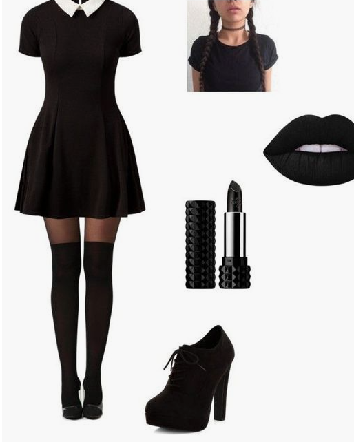 Wednesday Adams - Go buy some black lipstick and layer your LBD with a white button up and your good to go!