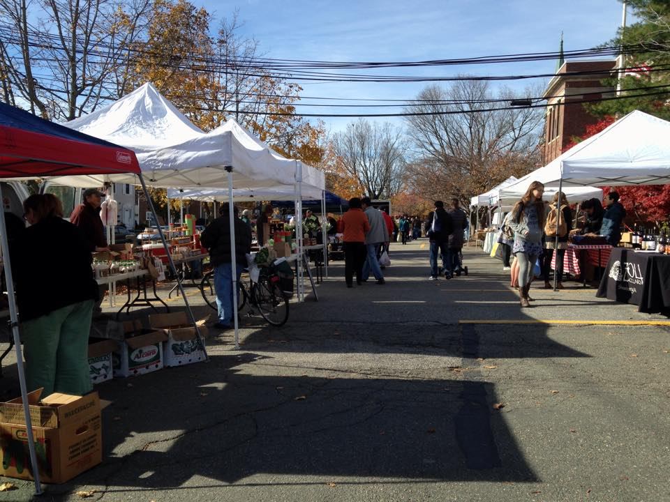 An autumn scene from the 2014 Waltham Farmers' Market.