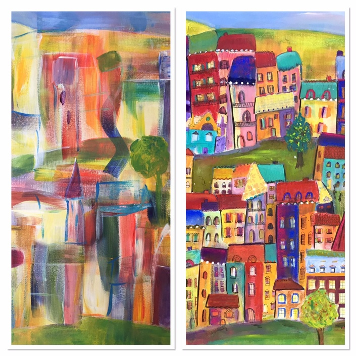 One of the bonus of the NBNA energy painting Course is the quirky Village. From brush strokes to your own original quirky village painting in easy steps