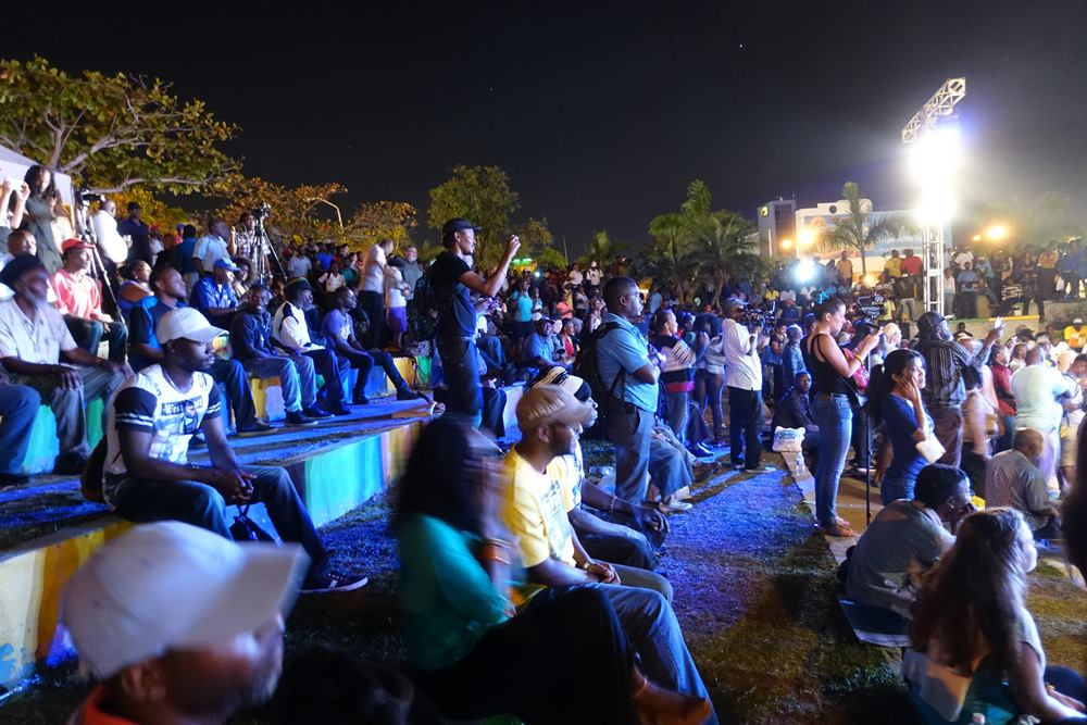 The crowd in the amphitheater enjoying the show