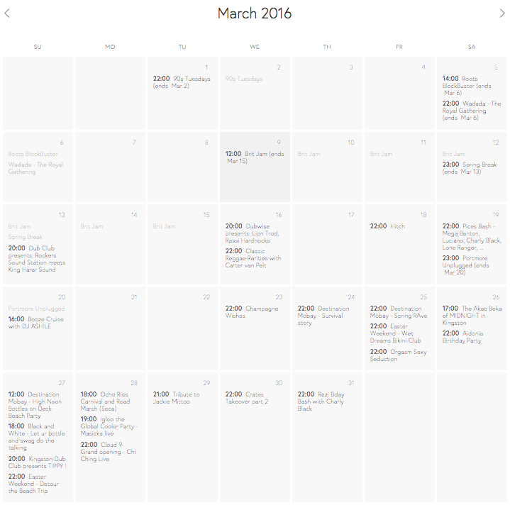A screenshot of the events calender for March 2016