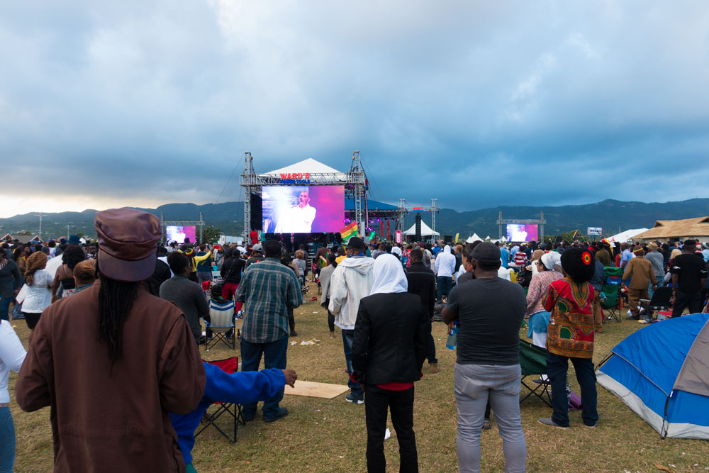 The crowd at 8 am on Sunday morning. Sanchez on stage.
