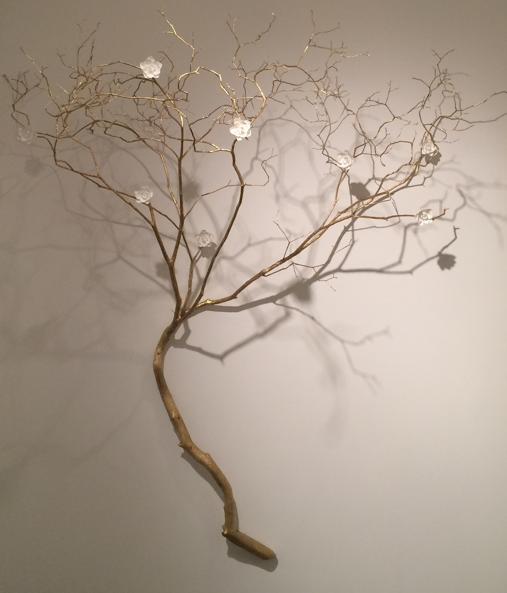 Gilded Branch, 2015 Gold Leaf and Porcelain Blooms Christian Bradley West.JPG