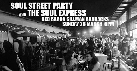 The Soul Express take over the street next to Red Baron in Gillman Barracks for a street party featuring a repertoire ranging from old school soul R&B to funk, pop to rock and from the evergreen 50s to current TOP 40  Headed by Bani Rahman on bass and vocals. Fronted by Nick Saviour on vocals and percussions. Walit on funky guitars, Ayee on smooth keys and Zack groove pocketing the drums. Full dinner service available from 6pm till 10pm. #redbaron #redbaronsg #gillmanbarracks #soulexpress