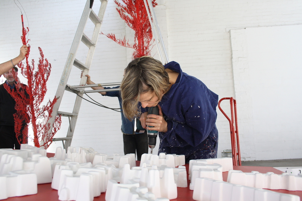 "Installing ""Red Metropolis"" at the Yarra Sculpture Gallery"