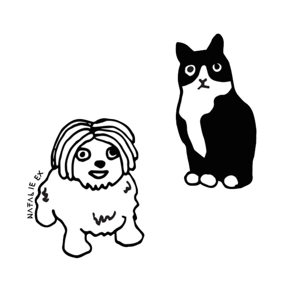 Line Art Style Drawing of a cute cat and dog by Melbourne Illustrator, Natalie Ex