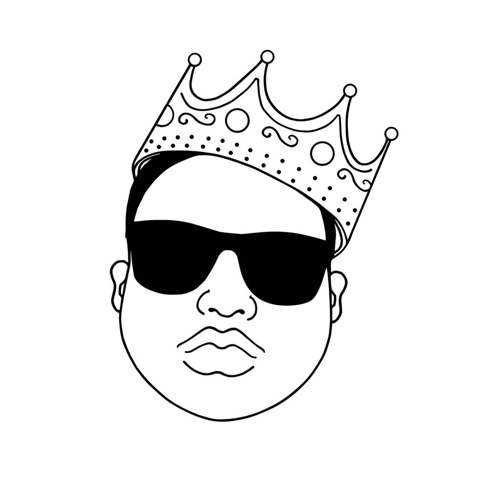 Black and white line art portrait drawing of Biggie
