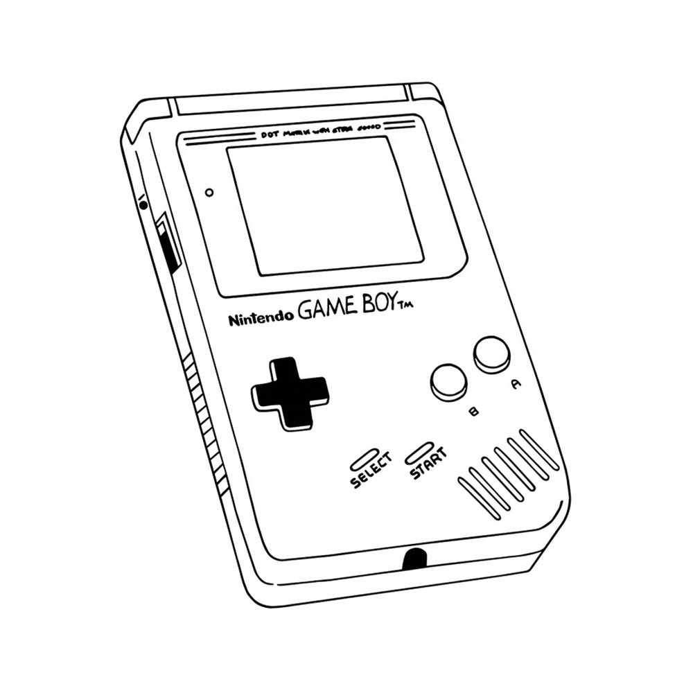 Line art style drawing of a Gameboy by Melbourne Illustrator, Natalie Ex