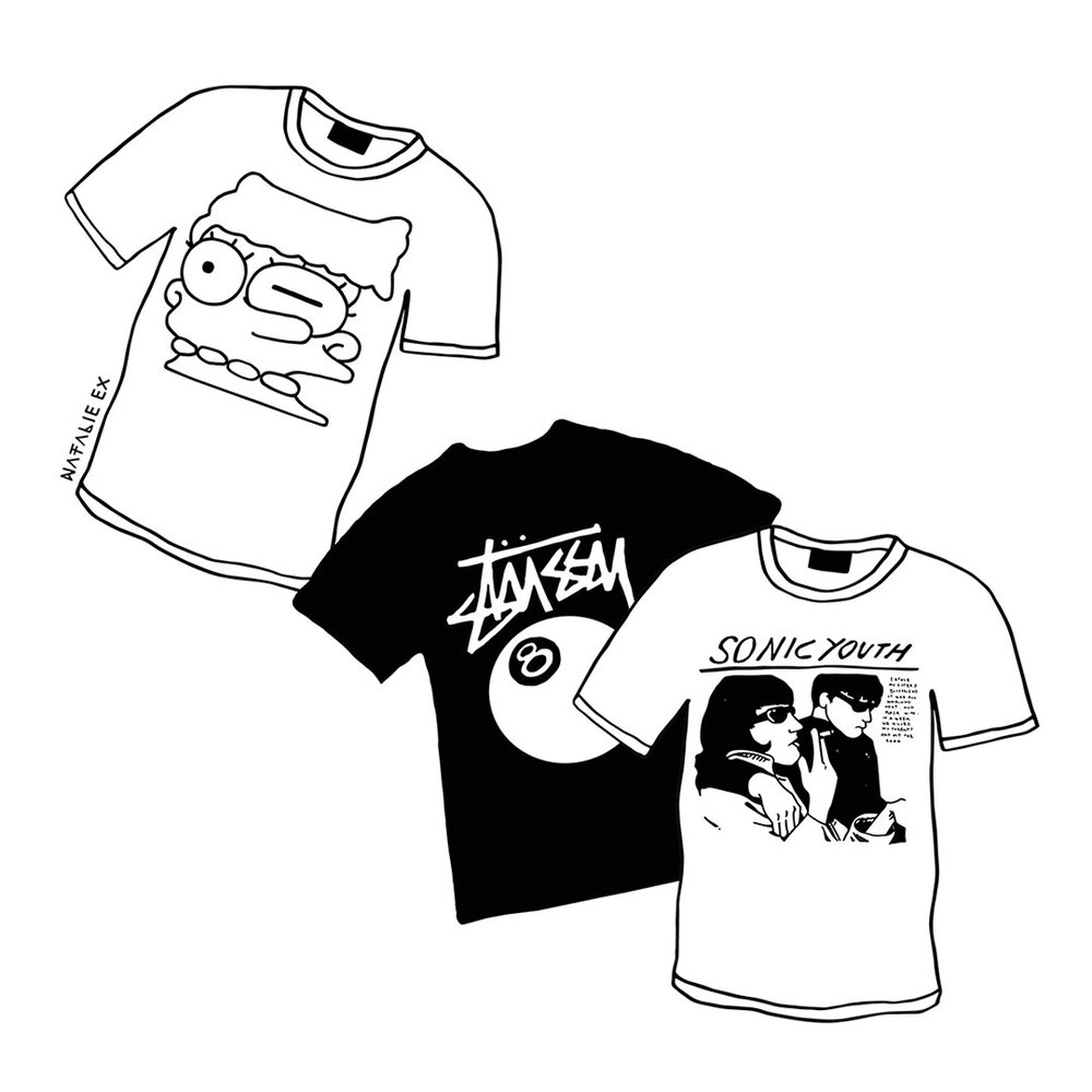 T-shirts from the 90s. Illustrations by Melbourne Illustrator and Graphic Designer, Natalie Ex